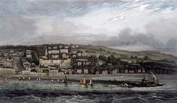 ANTIQUE PRINT: RYDE. WEST OF THE PIER.