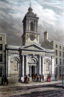 ANTIQUE PRINT: ST. PETER LE POOR, BROAD STREET.