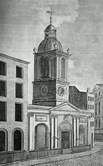 ANTIQUE PRINT: THE NEW CHURCH OF ST. PETER LE POOR, BROAD STREET.