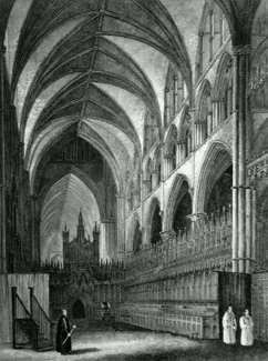 ANTIQUE PRINT: LINCOLN CATHEDRAL. CHOIR LOOKING WEST.