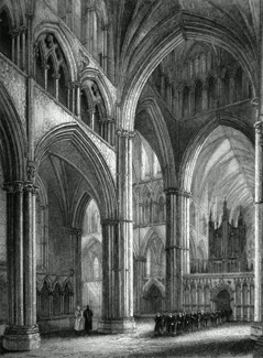 ANTIQUE PRINT: LINCOLN CATHEDRAL. VIEW IN THE NAVE, LOOKING ACROSS THE NORTH TRANSEPT.
