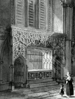 ANTIQUE PRINT: LINCOLN CATHEDRAL. BISHOP LONGLAND'S MONUMENT.