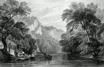 ANTIQUE PRINT: FERRY OVER THE DERWENT, MATLOCK BATH.