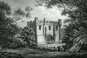 ANTIQUE PRINT: REMAINS OF MACKWORTH CASTLE, DERBYSHIRE.