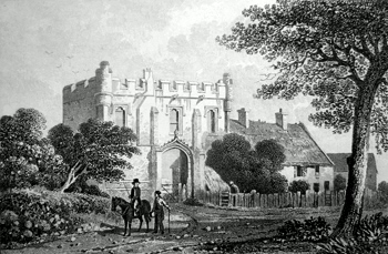 ANTIQUE PRINT: MACKWORTH CASTLE, DERBYSHIRE.
