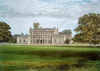 Antique print of Locko Hall near Derby, Derbyshire
