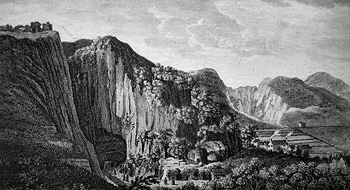 ANTIQUE PRINT: A VIEW OF THE ROCKS & THAT VAST CAVERN CALL'D PEAKES HOLE, AT CASTLETON IN DERBY SHIRE.