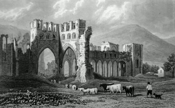 ANTIQUE PRINT: LLANTHONY ABBEY.