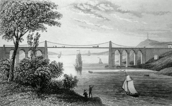 ANTIQUE PRINT: THE SUSPENSION BRIDGE, NEAR BANGOR. CAERNARVONSHIRE.