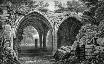 ANTIQUE PRINT: REMAINS OF THE CLOISTERS OF MARGAM ABBEY, GLAMORGANSHIRE.