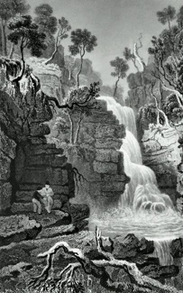 ANTIQUE PRINT: LOWER FALL OF THE HEPSTE. BRECKNOCKSHIRE.