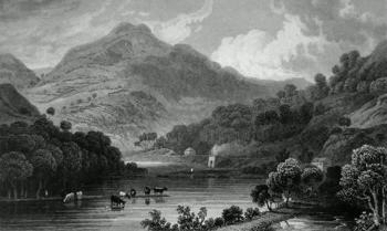 ANTIQUE PRINT: VIEW IN THE VALE OF LLANGOLLEN.