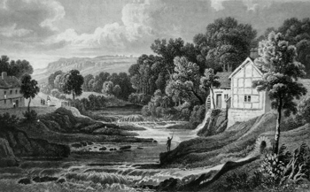 ANTIQUE PRINT: VIEW OF THE RHIEW. MONTGOMERYSHIRE.