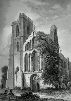 ANTIQUE PRINT: LLANDAFF CATHEDRAL. WEST FRONT.
