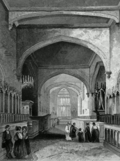 ANTIQUE PRINT: BANGOR CATHEDRAL. THE CHOIR.