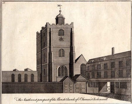 ANTIQUE PRINT: THE SOUTHWEST PROSPECT OF THE PARISH CHURCH OF ST. JAMES'S CLERKENWELL.