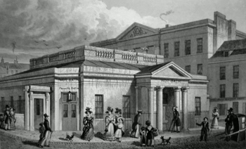 ANTIQUE PRINT: THE HOT BATHS, AND NEW INFIRMARY, BATH.