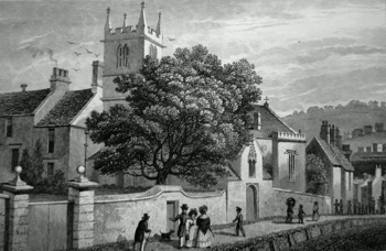 ANTIQUE PRINT: MAUDLIN CHAPEL, BATH.