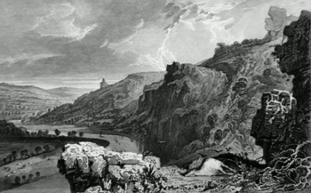 ANTIQUE PRINT: [CALSTOCK] THE MORWELL ROCKS, ON THE RIVER TAMAR, DEVON & CORNWALL.