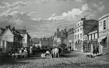 Antique print of Truro, Cornwall
