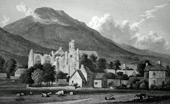 ANTIQUE PRINT: MELROSE ABBEY, SCOTLAND.