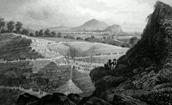 ANTIQUE PRINT: THE STONE QUARRIES, CRAIGLEITH, NEAR EDINBURGH. FROM WHICH THE NEW TOWN WAS BUILT.