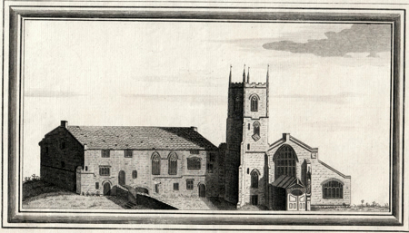 ANTIQUE PRINT: VIEW OF DAVENTRY PRIORY IN THE COUNTY OF NORTHAMPTON.