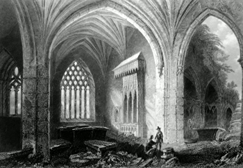 ANTIQUE PRINT: INTERIOR OF HOLY-CROSS ABBEY.