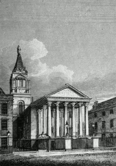 ANTIQUE PRINT: ST. GEORGES CHURCH, BLOOMSBURY.