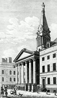 ANTIQUE PRINT: BLOOMSBURY CHURCH.