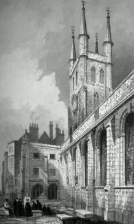 ANTIQUE PRINT: ST. SEPULCHRE'S CHURCH, VIEW FROM SKINNER STREET.