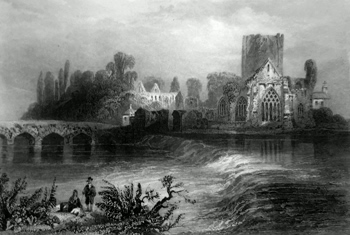 ANTIQUE PRINT: HOLY-CROSS ABBEY. (ON THE SUIR).