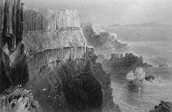 ANTIQUE PRINT: PLEASKIN CLIFF, NEAR THE GIANTS CAUSEWAY. (COUNTY ANTRIM.)