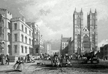 ANTIQUE PRINT: WESTMINSTER HOSPITAL AND ABBEY CHURCH.