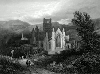 ANTIQUE PRINT: MELROSE ABBEY, ROXBURGHSHIRE.
