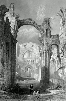 ANTIQUE PRINT: LINDISFARN ABBEY, NORTH DURHAM.