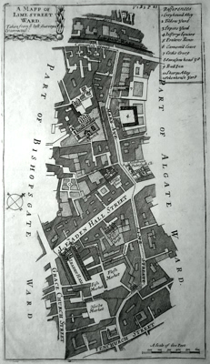 ANTIQUE PRINT: A MAPP OF LIME STREET WARD. TAKEN FROM YE LAST SURVEYS & CORRECTED.