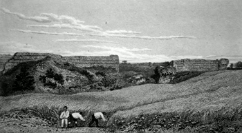 ANTIQUE PRINT: REMAINS OF THE ROMAN CASTLE, BURGH, SUFFOLK.