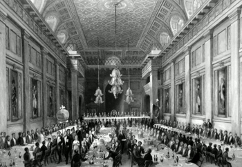 ANTIQUE PRINT: FREEMASON'S HALL. DINNER OF THE ROYAL HUMANE SOCIETY, WITH THE PROCESSION OF THE PERSONS SAVED DURING THE YEAR FROM DROWNING.