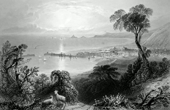 ANTIQUE PRINT: SWANSEA BAY.