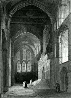 ANTIQUE PRINT: ROCHESTER CATHEDRAL. NORTH TRANSEPT.