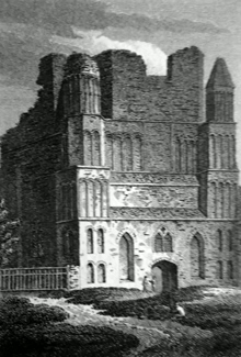 ANTIQUE PRINT: WEST FRONT OF MALLING ABBEY CHURCH KENT.