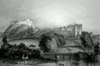 ANTIQUE PRINT: CARISBROOKE CASTLE, ISLE OF WIGHT.