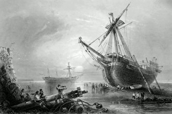 "ANTIQUE PRINT: ""THE WESTMINSTER"" AND ""CLAUDINE"" ASHORE NEAR MARGATE."