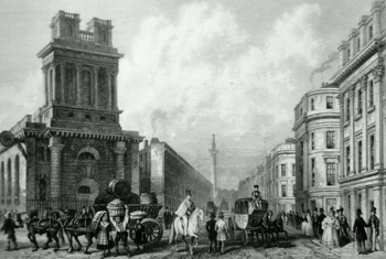 ANTIQUE PRINT: KING WILLIAM STREET, AND ST. MARY WOOLNOTH.