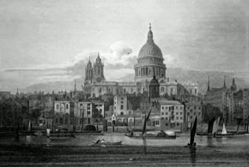 ANTIQUE PRINT: ST. PAULS. THE VIEW TAKEN FROM BANK SIDE.