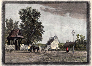 ANTIQUE PRINT: CRAYFORD VILLAGE, FROM THE NATIONAL SCHOOLS.