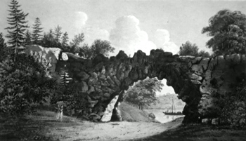 ANTIQUE PRINT: THE GREAT ARCH AT PARK PLACE.