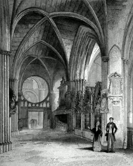 ANTIQUE PRINT: OXFORD CATHEDRAL. NORTH AISLE OF CHOIR.
