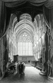 ANTIQUE PRINT: INTERIOR OF CARLISLE CATHEDRAL, CUMBERLAND.